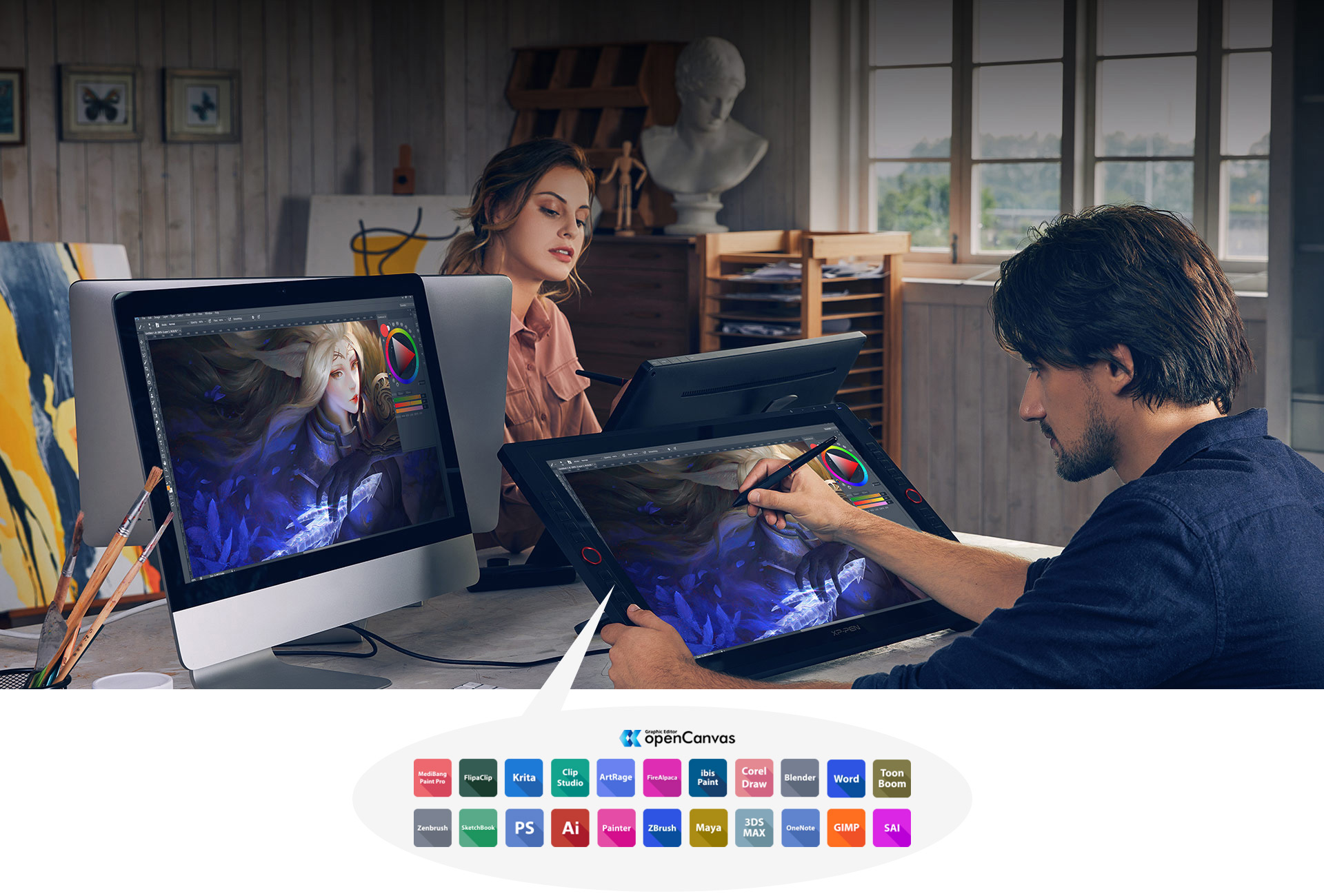 XP-Pen Artist 24 Pro features two easy-to-control red dial wheels and 20 customizable shortcut keys