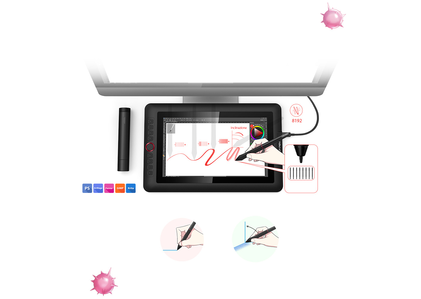 XP-Pen Artist 13.3 Pro portable drawing monitor supports up to 60 degrees of tilt function