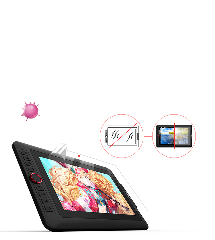 XP-Pen Artist 13.3 Pro display drawing tablet comes with a replaceable anti-glare optical film