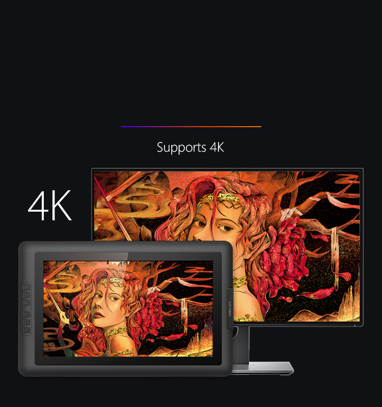 Artist 15.6 drawing pad driver can support 4k displays
