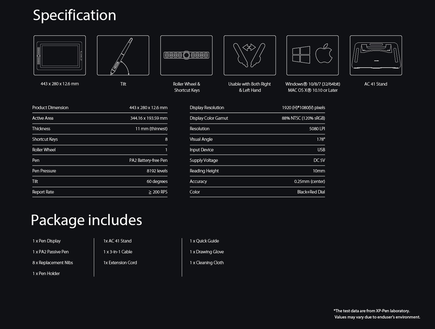 XP-Pen Artist 15.6 Pro drawing tablet monitor Specification