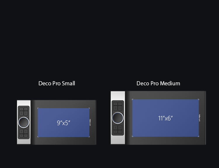 XP-Pen Deco Pro Series Graphics Tablets comes in two sizes