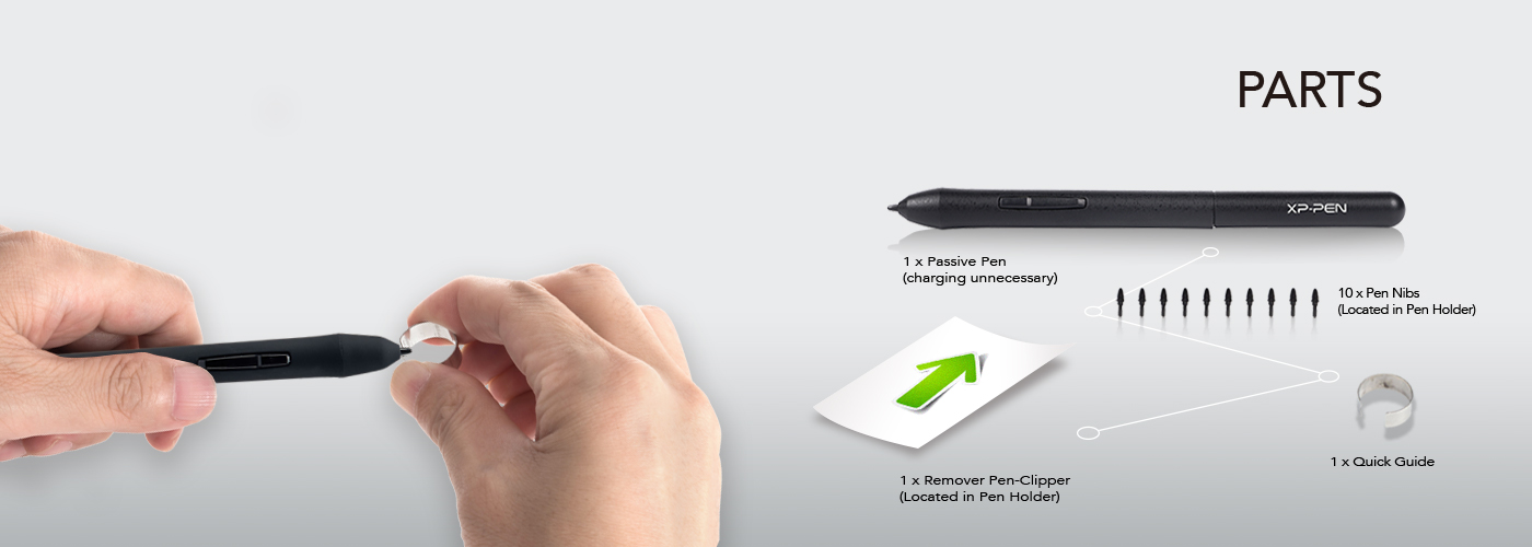 Parts of best OSU Drawing Tablet XP-Pen Star G430 Package