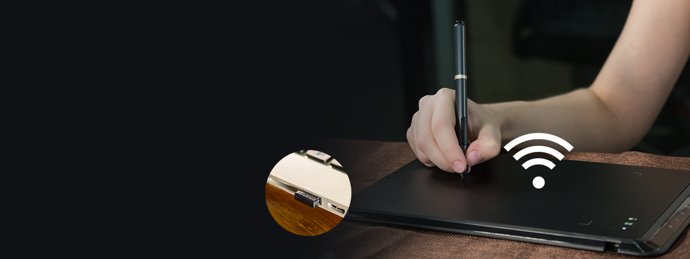 XP-Pen Star 05 graphic drawing tablet features both wired and wireless USB capabilities