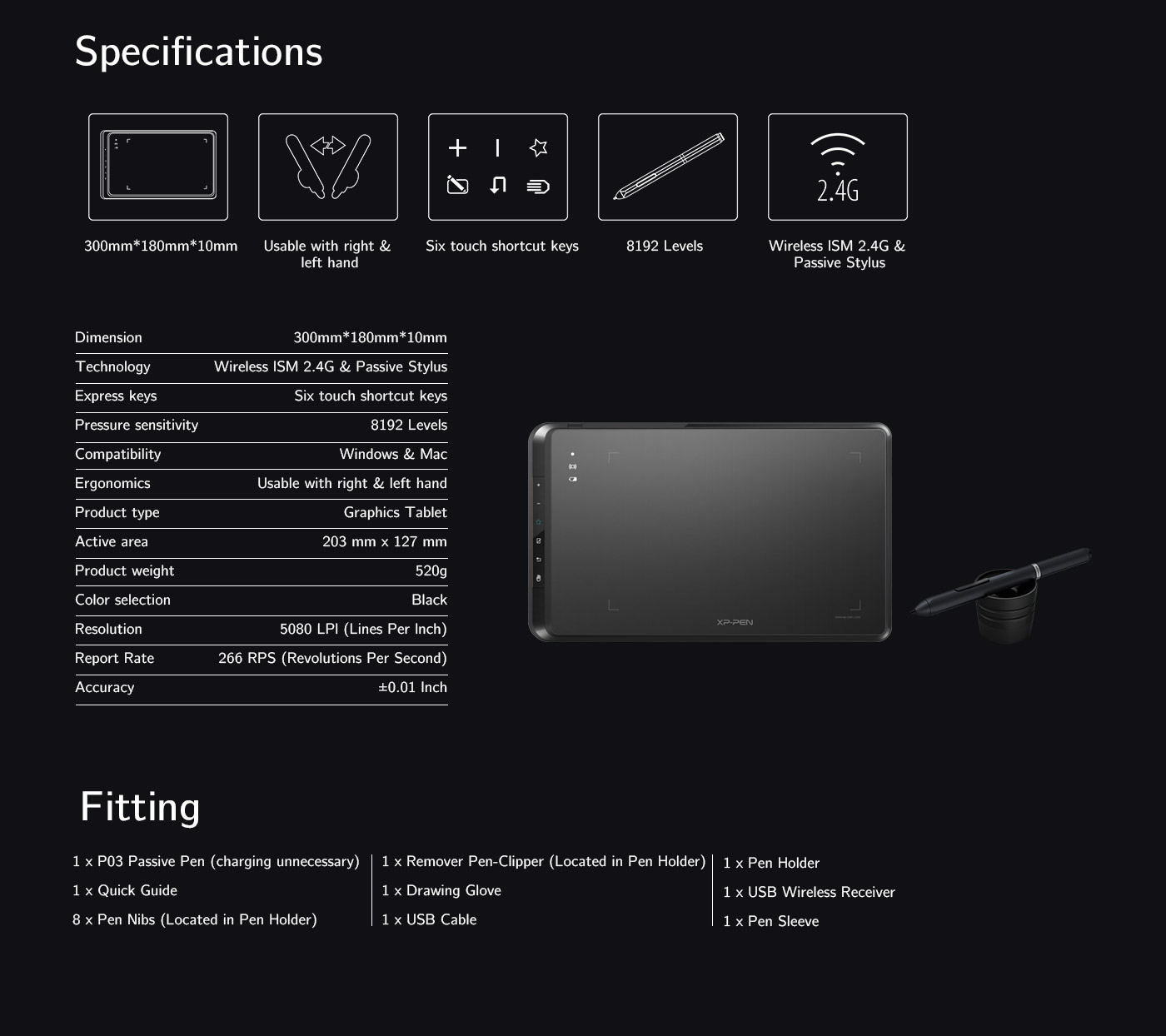 Specifications and fitting of XP-Pen Star 05 wireless drawing tablet