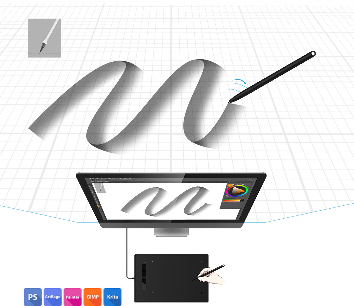 XP-Pen PH3 stylus supports tilt function