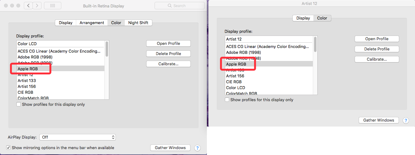 How to adjust the Artist 12 color temperature to be similar