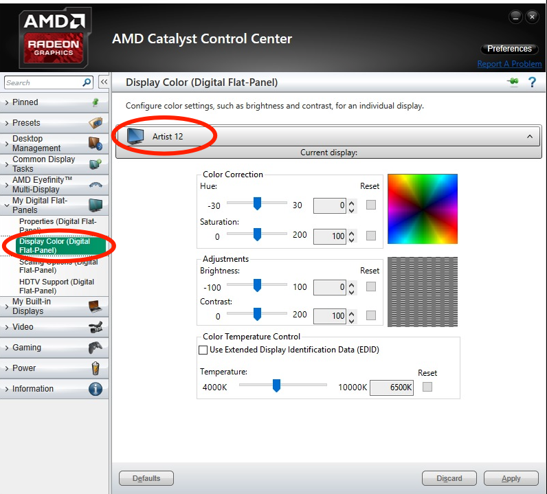 How do I adjust the Artist 12 color temperature to be similar to the